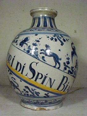 104: Large blue & white apothecary vase