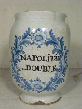 "Blue & White Apothecary Vessel, ""NAPOLITAN DOUBLE"""