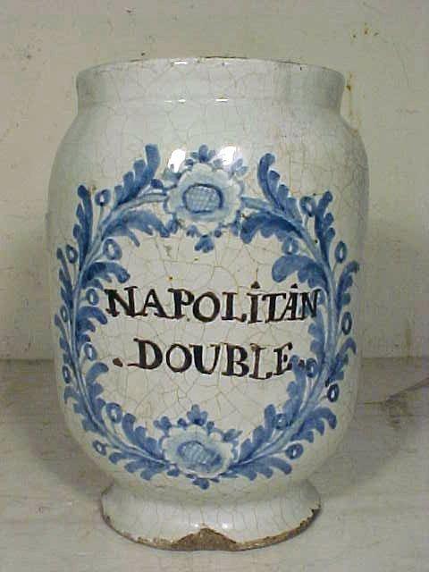"""106: Blue & white apothecary vessel, """"NAPOLITAN DOUBLE"""""""