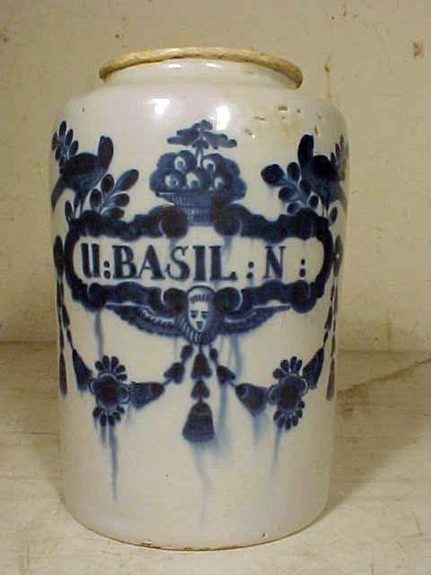 "107: Blue & white apothecary jar, ""BASIL:N"""