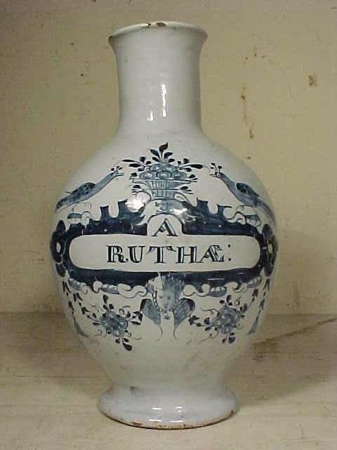"""108: Vase, blue & white, """"A.RUTHAE"""""""