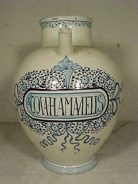"""110: Large wet drug jar, """"HAMANELIS"""", blue & white"""