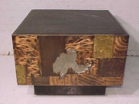 111: Slate top table on mixed metal base by Paul Evans