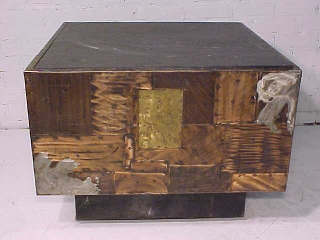 111: Slate top table on mixed metal base by Paul Evans - 3