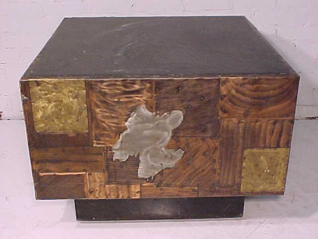 111: Slate top table on mixed metal base by Paul Evans - 4