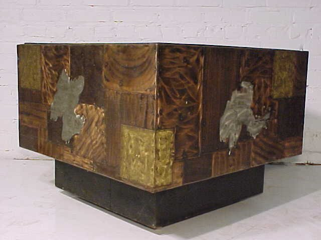 111: Slate top table on mixed metal base by Paul Evans - 5
