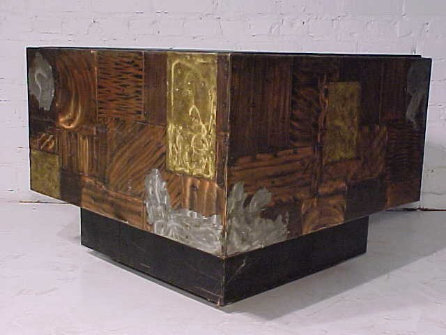 111: Slate top table on mixed metal base by Paul Evans - 6