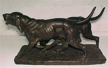 112: Isidore Jules Bonheur bronze of two dogs