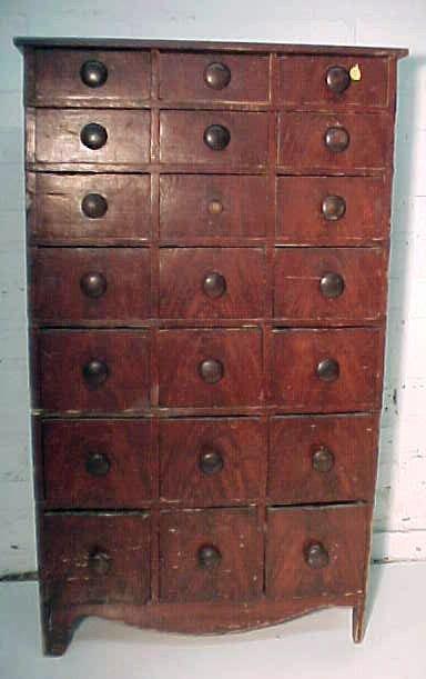 116: 19th century grain painted multidrawer cabinet