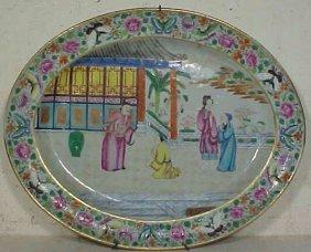 120: Rose medallion oval charger / serving plate
