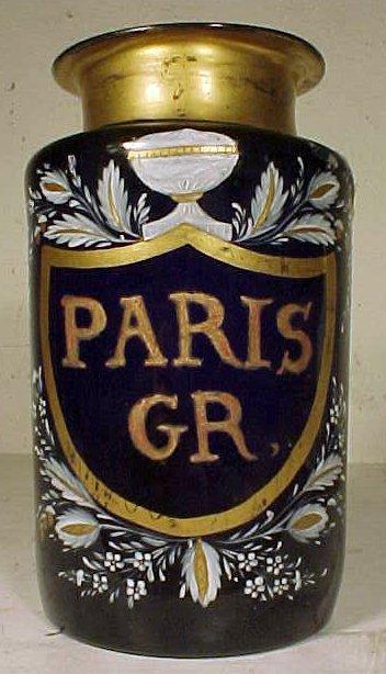 "161: Paint decorated apothecary jar, blue glass, ""PARIS"