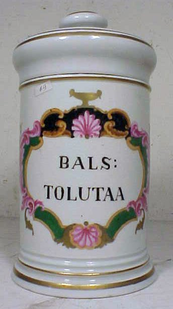"""168: Apothecary jar with lid, """"BALS:TOLUTAA"""", decorated"""