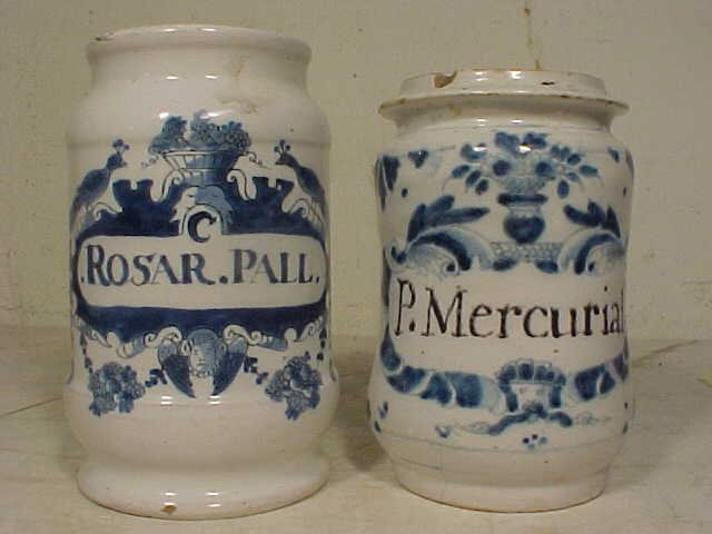 """170: Two apothecary jars, """"ROSAR.PALL"""", """"PMERCURIAL"""""""