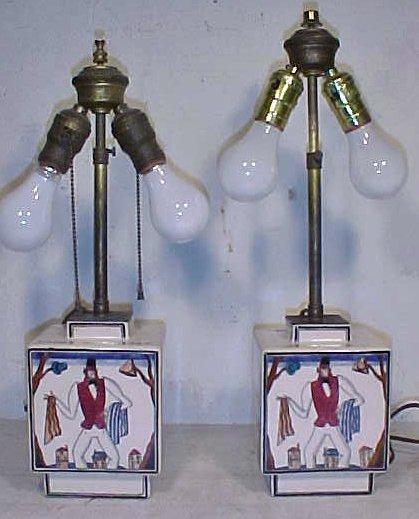 158: Pair rare porcelain lamps by Robert Lallemant