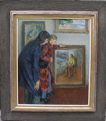 "196: Oil, ""Gallery Interior"", signed Susan Kahn"
