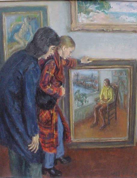 "196: Oil, ""Gallery Interior"", signed Susan Kahn - 2"