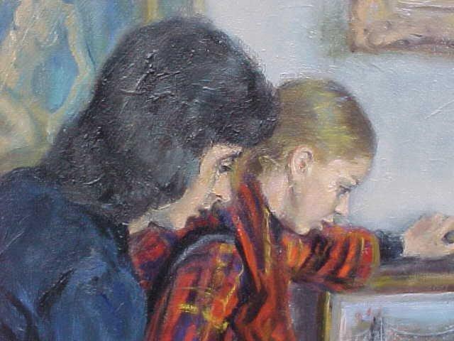 "196: Oil, ""Gallery Interior"", signed Susan Kahn - 3"