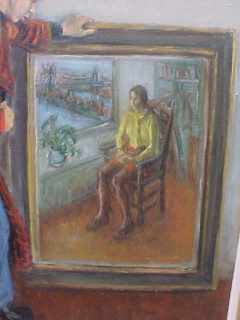 "196: Oil, ""Gallery Interior"", signed Susan Kahn - 5"