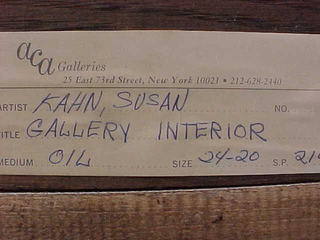 "196: Oil, ""Gallery Interior"", signed Susan Kahn - 6"