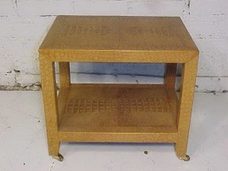 100: Karl Springer Two tier stand, crocodile leather
