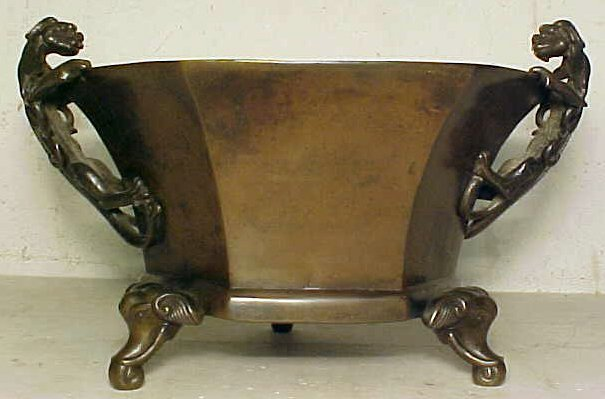 109: Chinese bronze basin with climbing dragons