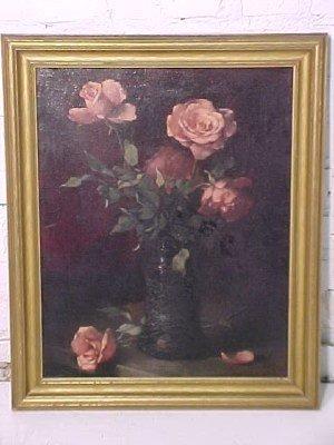 114: O/C, stillife with roses, sgd. Pascal  de Beucker,