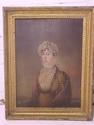 115: O/P, folk portrait of a woman, unsigned