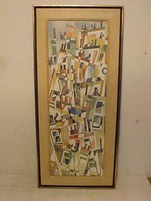 118: WC, cubist scene, sgd. John Gutman 1958