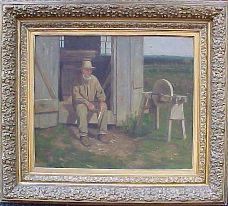 119: O/CB, craftsman by barn, sgd. Arthur Hoeben