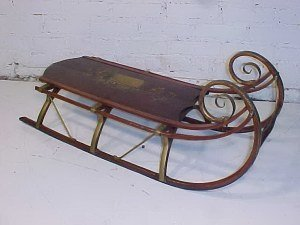 123: Early sled, decorated with painted landscape