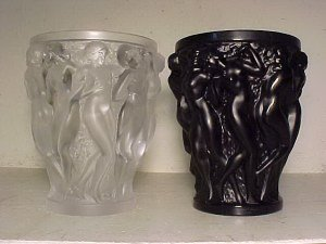 150: Two large Lalique vases, one frosted, one black, 9