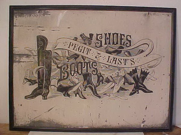 "108: Large tole sign boots, 36"" x 48"""