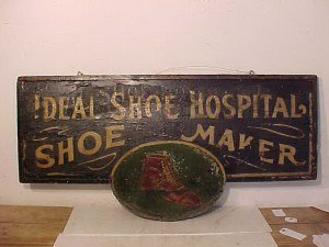 110: Shoe maker sign 12 3/4 x 25 3/4""