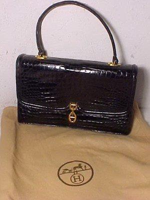 147: Hermes Crocodile bag, black