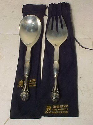 119: Two Georg Jensen serving pieces, fork & spoon