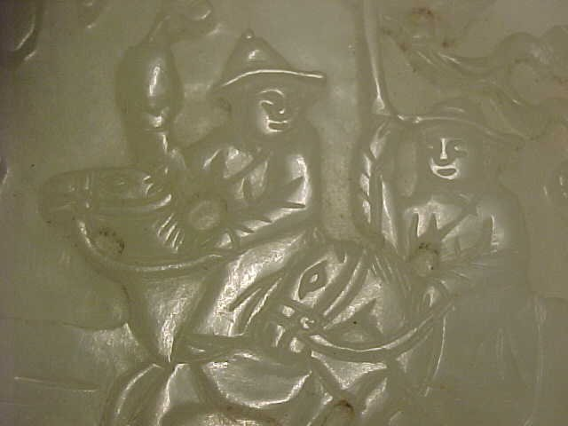 167: Carved Jade piece, carved with figures - 10