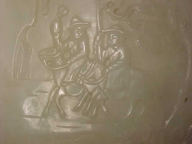 167: Carved Jade piece, carved with figures - 3
