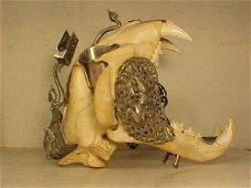 188: Silver mounted tiger skull