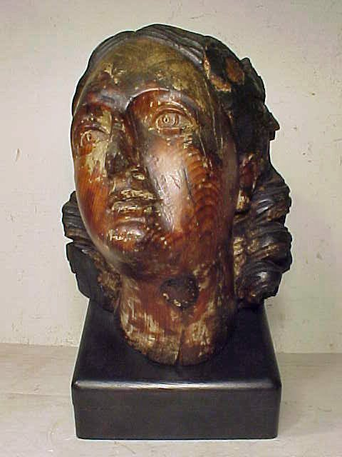 18th Century carved wood head