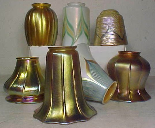 Lot 7 art glass shades, Tiffany, Quezal