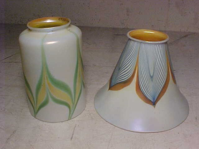 Lot 7 art glass shades, Tiffany, Quezal - 3
