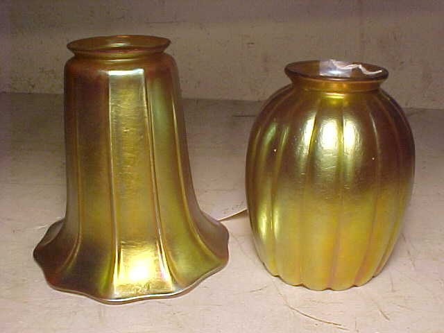 Lot 7 art glass shades, Tiffany, Quezal - 7