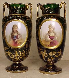 Pair glass vases with applied porcelain plaques