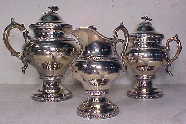 Three piece silver tea set by William Gale & son