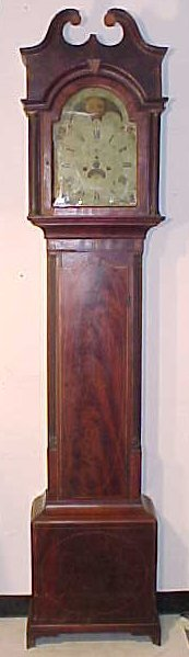 Federal tall case clock, signed Wilson