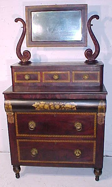 Fine stenciled chest with mirror,  Lafayette history