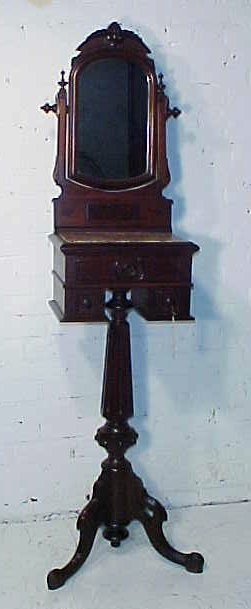 Victorian carved base, marble top shaving stand.