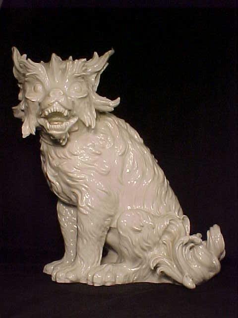"""Large Meissen porcelain dog, some damage, 17"""" tall."""