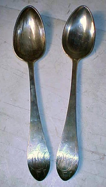 Two early silver serving spoons, signed D. Hall, 4.6T