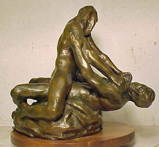 "Bronze figural, ""Loving Couple"", signed Per Ung"